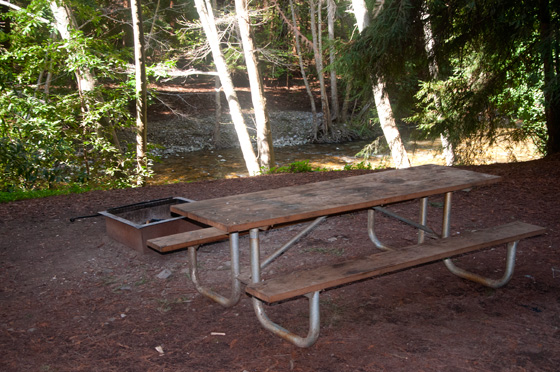Tent Cabins. Picnic table alongside the Big Sur River & Tent Cabin Camping :: Fernwood Campground u0026 Resort Big Sur California